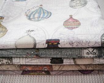 Set for 4 Cotton Linen Fabric BUNDLE Vintage World Map Fire Balloon Fabric Fat Quarter Bundle- Sets 5 Each 50cm X 50cm