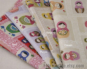 Cotton Linen Fabric Colorful Russian Matryoshka Doll With Lace Mushroom Flower Square Kid's Fabric- 1/2 yard