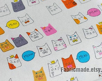 Colorful Fortune Cat Fabric, Cute Cat Cotton Linen Fabric, Baby Kids Quilting Fabric - Fabric by the yard 1/2 yard