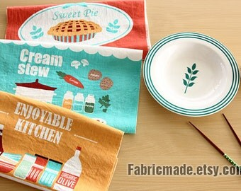 """Retro Linen Cotton Fabric, Enjoyable Cooking Kitchen Stamp - One Panel 3 Cuts 35""""X55"""""""