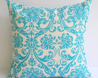 "Throw pillow cover One 16"" x 16"" Aqua turquoise and natural Dosset Abigail"