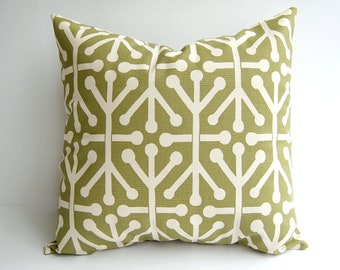 Throw pillow cover One Olive Green on Natural Aruba cushion cover