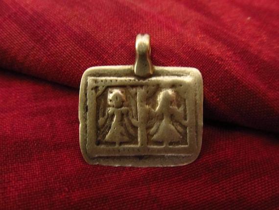 Antique Silver Lakshmi Duo Hindu Amulet