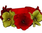 Dog Christmas Collar with Red & Green Flowers Gold Centers, sizes 9-25 inches