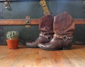 Vintage Brown Leather Cowboy Style Boots Ladies Size 7
