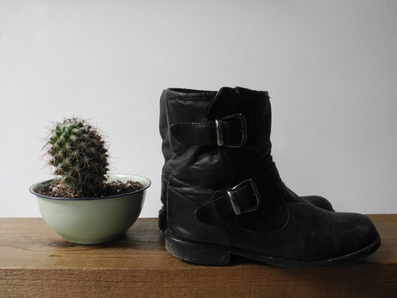 Black Leather Biker Boots With Buckles Size 9