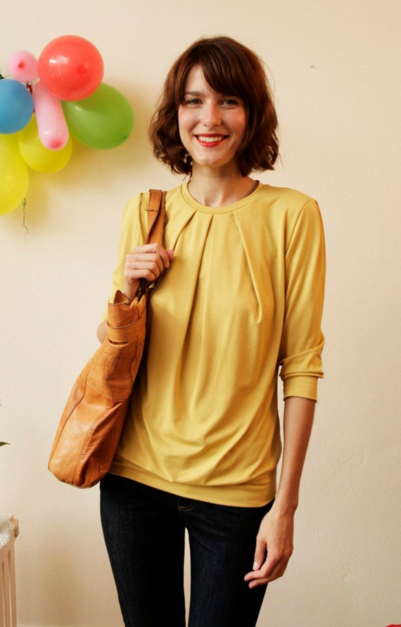 "Shirt ""Emilia"" with four decorative folds,  mustard"