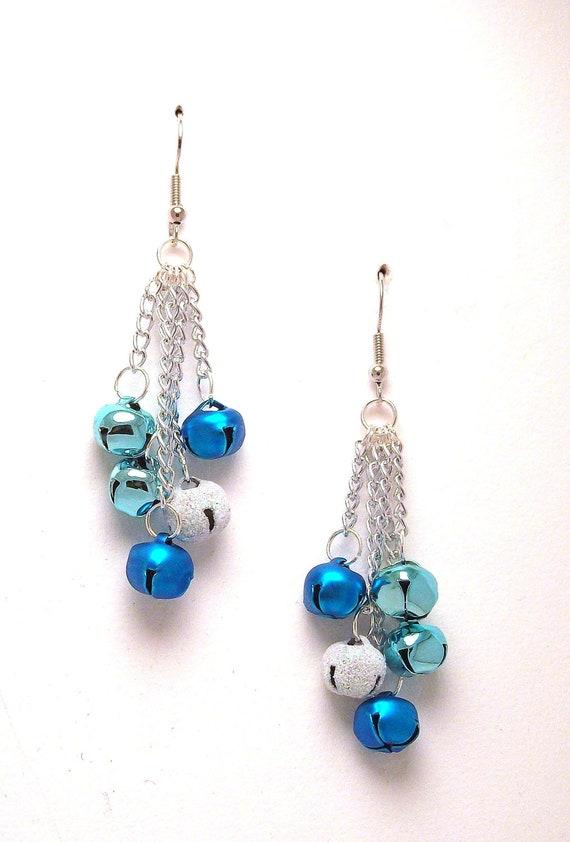 Blue christmas bell earrings