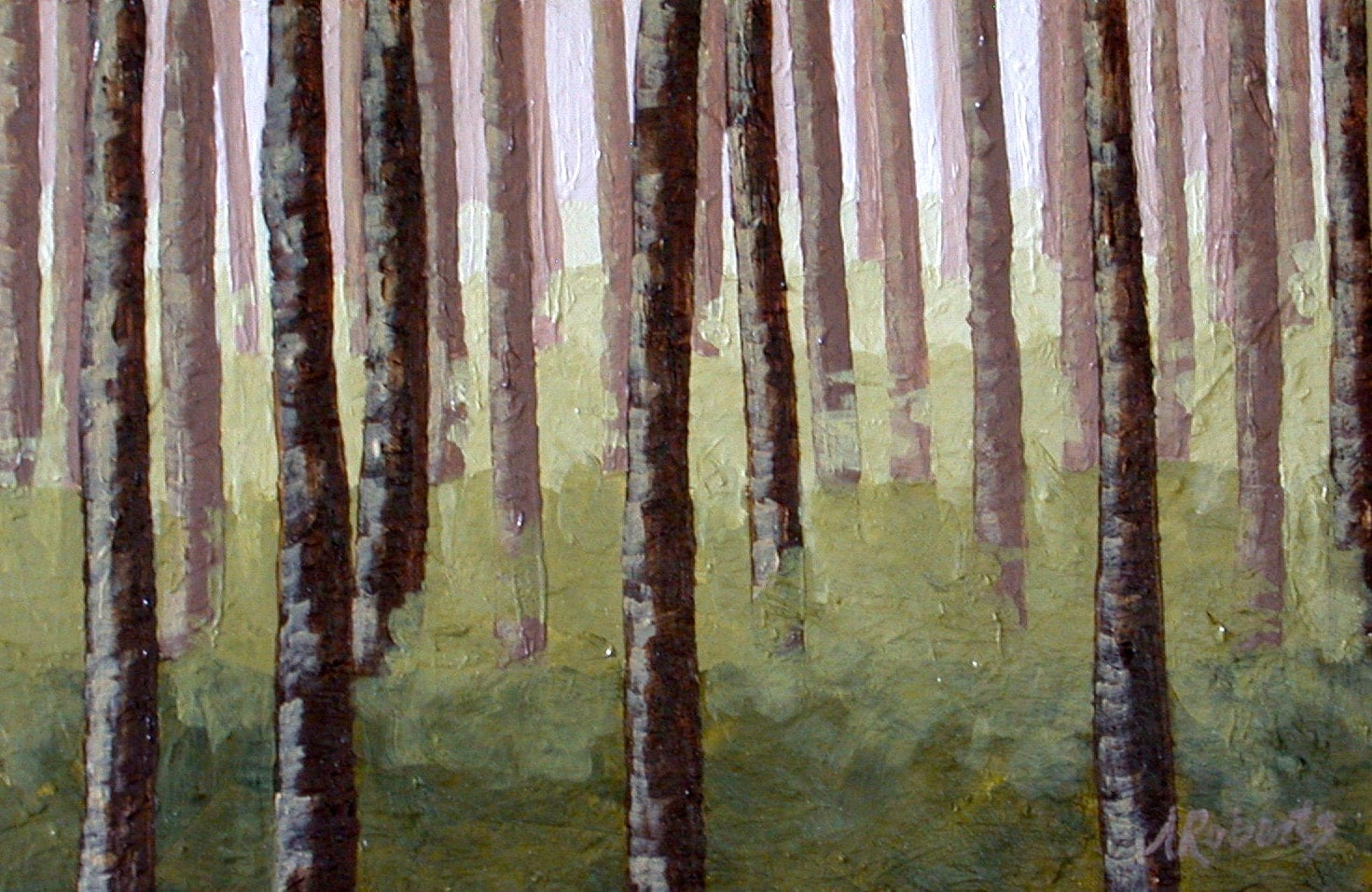Sale enchanted forest original 4x6 acrylic forest painting for Painting a forest in acrylics