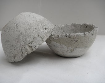 A set of Happy twin cement hand crafted planters