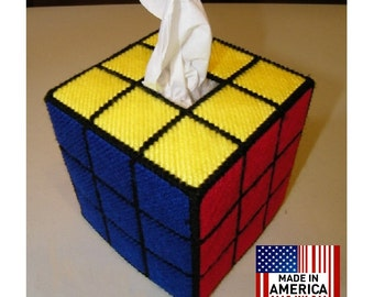 Rubik's Rubiks Rubic Cube Tissue Box Cover Hand Made as seen on The Big Bang Theory, Solved Version