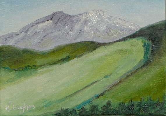 """HOLIDAY CLEARANCE SALE! Original landscape oil painting """"Renewed Life on Mount St. Helens"""", 5"""" x 7:oil on canvas"""