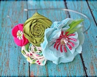 Aqua, Pink, Lime Green Headband, Turquoise, Fuchsia Hair Accessories, Fabric Flowers, Baby Hair Bow, Fabric Flower Brooch, hair piece