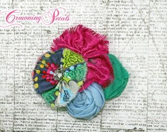 Magenta, Baby Blue, Green, Girl's Hair Accessory, Flower Headband, Fuchsia Pink Hair Clip, Fabric Flowers, Baby Hair Photo Prop, Spring