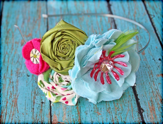 Aqua, Pink, Lime Green Headband, Turquoise, Fuchsia Hair Accessories, Fabric Flowers, Baby Hair Bow, Fabric Flower Brooch, hair piece