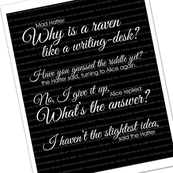 Alice In Wonderland Quote Raven Like A Writing Desk Featured
