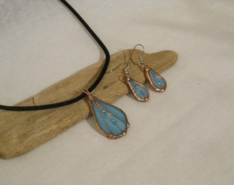 Blue Pendant and Earring Set