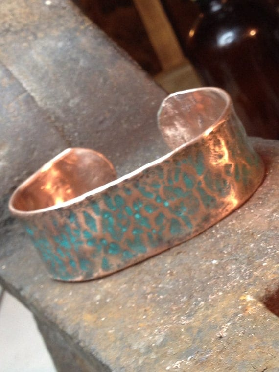 copper cuff mediun width handmade bracelet hand hammered from reused copper pipe