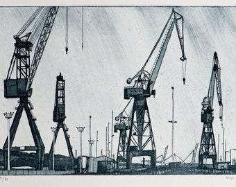 Crane Etching - Belfast Cranes Etching Print