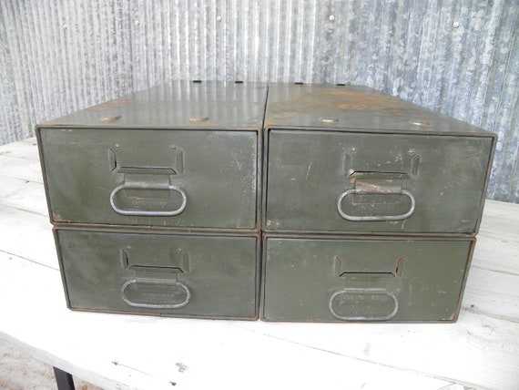 Reserved for Pattyb520 Vintage Industrial Office File Drawers Military Green Patina Urban Loft Craft storage Organizer