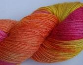 Handpainted Yarn with bamboo and yellow orange pink