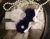 SALE-Wedding Garter - Garters - Ivory Lace Garter Set - Bridal Garter -Toss Garter - Vintage - Eggplant - Purple - Plum - Rhinestone - Pearl
