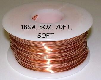 Genuine Solid Copper Wire  18 ga  5 OZ. 70 Ft. ( Soft ) bright copper