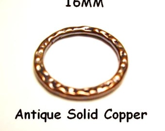 16MM 10 Pcs. Antique Copper Hammered Link Solid Copper Casting Made In USA