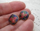 Enamel blue and red and green Flower Pattern Button Style Pierced Earrings-Vintage
