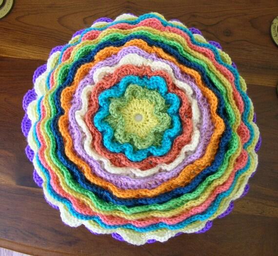 Crochet Accent Throw Pillow - Multi Colored Flower Motif