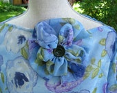 Blue Floral Beach Cover up, Poncho, shawl