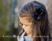 Black and White Hair Bow - Polka Dots -  Black and White Clip / Clippie- Girl's Hair Accessory