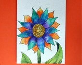 Watercolor card ,(No. 15), Fantasy Flower, hand painted card, original artwork card, floral card, watercolor, flower,card