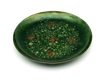 Vintage German copper enamel dish from 1960s