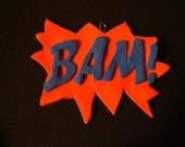 Hand made Bam comic book word ornament