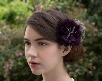 Deep Purple Grape Feather Hair Flower / Fascinator Headpiece with a touch of Birdcage Veil