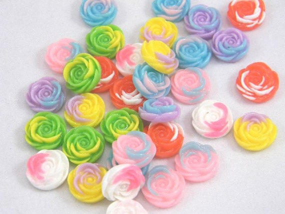 21 Flat Back Roses, Assorted Mix, Multi Color, 14mm, Jewelry Supplies