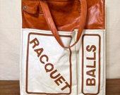 Vintage tennis tote bag - racquet ball - workout - brown, cream