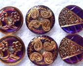 Czech  Glass Buttons  6 pcs GORGEOUS  gold   22mm   IVA 130