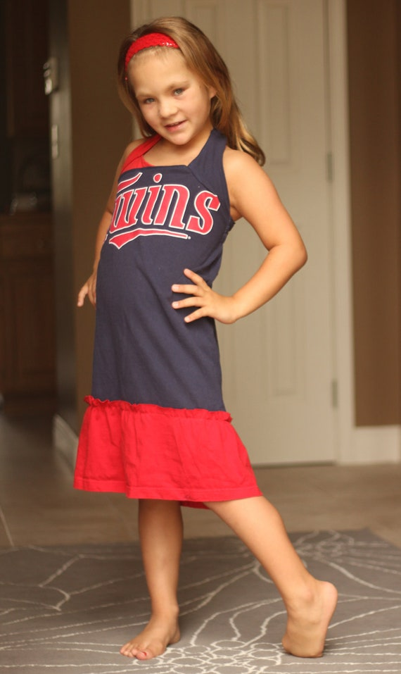 Girls Gameday Dress - Upcycled from Twins Tshirt