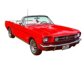 Red 1965 Ford Mustang Convertible Poster Print Digital Illustration Classic Sports Car