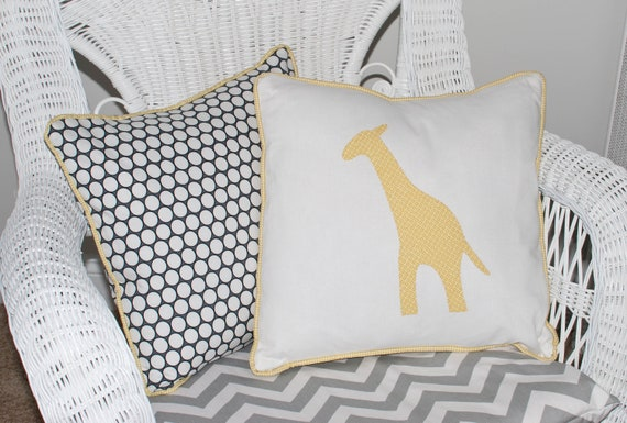Yellow Giraffe Pillow Cover with Polka Dot Back & Piping