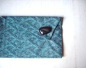 Clutch Purse: Black and Teal Swirl Fabric Clutch Wallet With Vintage Button