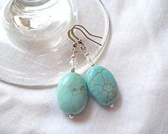 Oval Shaped Turquoise Earrings