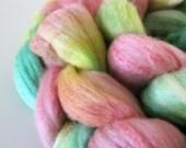 Spinning Fiber Roving - Lemon Guava Sorbet - Greens, Pink and yellow  - Merino Silk 3.45 oz