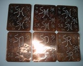 Free Ship sk or  sn or so or sp or sr  Antique  Monogram Stencil  Copper Initials Letters Free Shipping Worldwide