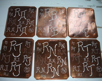 Free Shipping  Monogram Stencil  ra or rb or rc j   Copper Initials Letters Free Shipping Worldwide