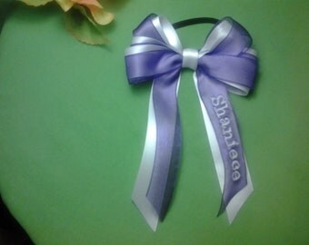 4 1/2in Full Name Customized Bow Satin with Sheer Overlay