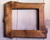 Handmade Rustic Wood Frame, 7 1/2 x 9 3/4, Golden Oak