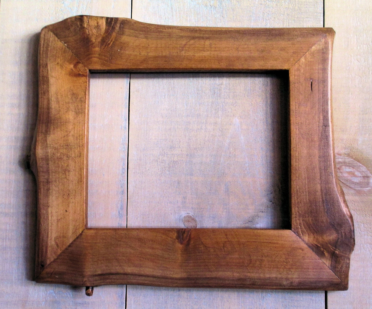 Handmade Rustic Wood Frame 7 12 X 9 34 on olive green wood stain